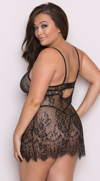 PLUS SIZE SULTRY EYELASH LACE BABYDOLL AND ROBE SET