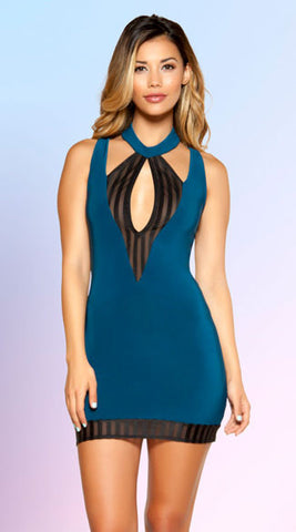 CUT-OUT STRIPED MINI DRESS in Teal - Bokeelia Boutique