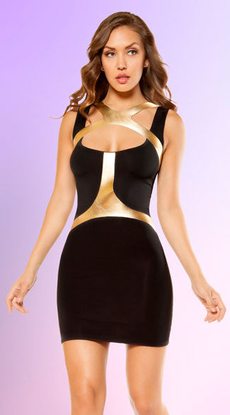 BLACK AND GOLD HOLSTER MINI DRESS - Bokeelia Boutique