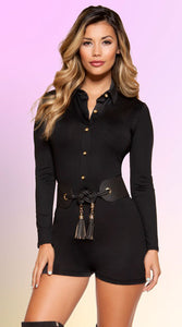 BLACK BUTTON-UP ROMPER - Bokeelia Boutique