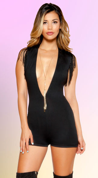 PLUNGING FRINGED ROMPER - Bokeelia Boutique
