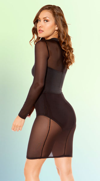 Sheer Cut-Out Black Mini Dress