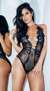 LOW CUT EYELASH LACE TEDDY - Bokeelia Boutique