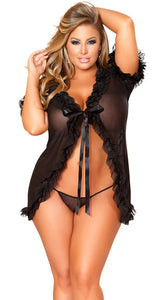Plus Size Black Ruffeled Flyawa Babydoll Set - Bokeelia Boutique