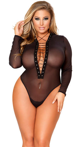 PLUS SIZE SHEER LACE-UP BODYSUIT