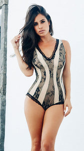 FLIRTY NUDE AND BLACK ROMPER WITH LACE - Bokeelia Boutique