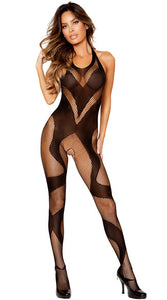 SWIRLY FISHNET AND MESH CROTCHLESS BODYSTOCKING
