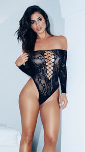 Black Net and Lace Romper