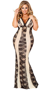 Plus Size Alluring Nude and Black Lace Lingerie Gown - Bokeelia Boutique