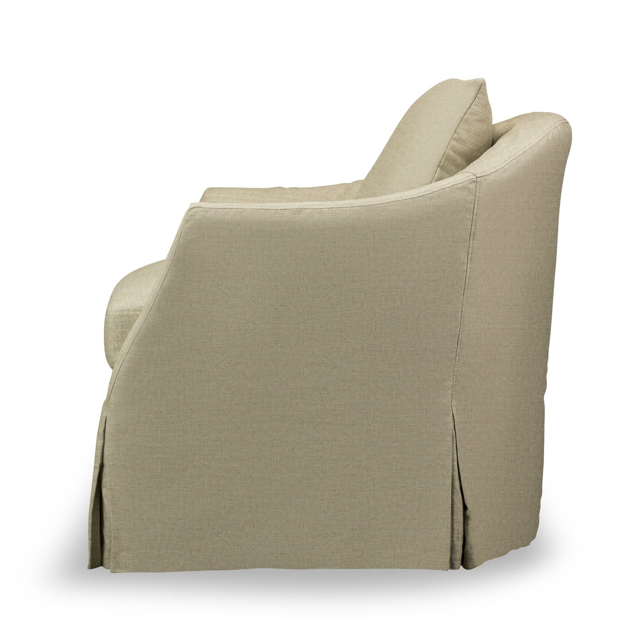 Amy Slip Covered Swivel Chair Natural Linen Spectra Home