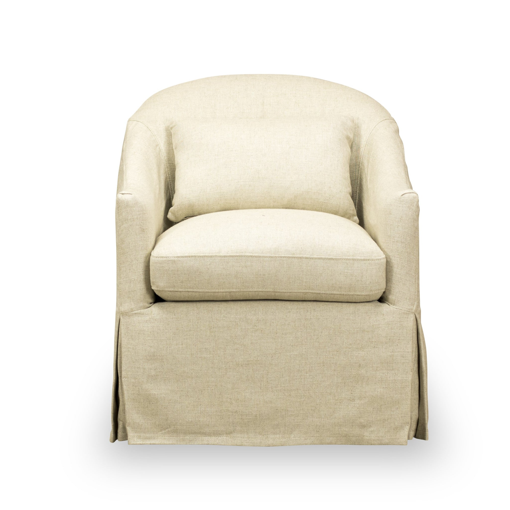 Becky Slipcover Swivel Chair Natural Ecru Spectra Home