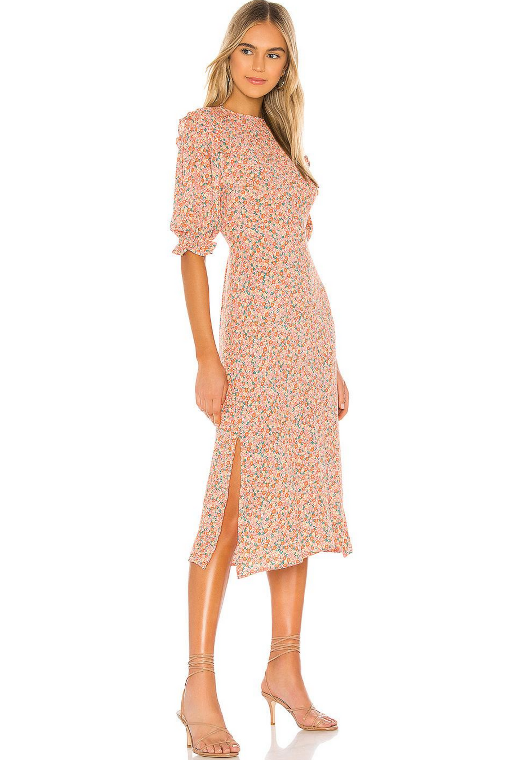 Jean Marie Midi Dress Mathiola Floral Pink