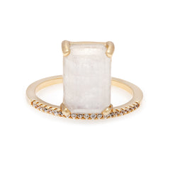 Emerald Cut Moonstone Stacking Ring