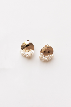 Freshwater Pearl Baroque Spheric Stud Earrings