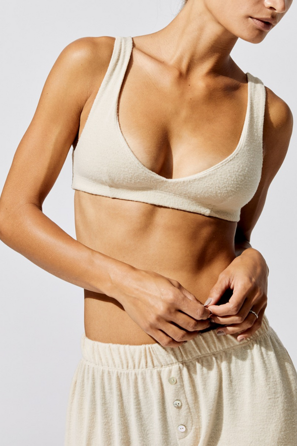 The Sweater Bralette is the definition of lounge-lingerie. Layer underneath clothing or wear as is, we promise this is the comfiest bra you will ever own. Brushed sweater knit bralette by Donni.