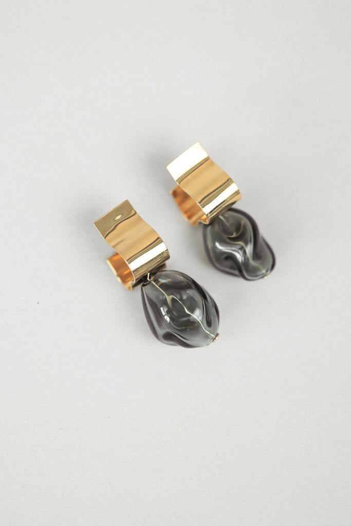 Ash Smoke Gold Earrings