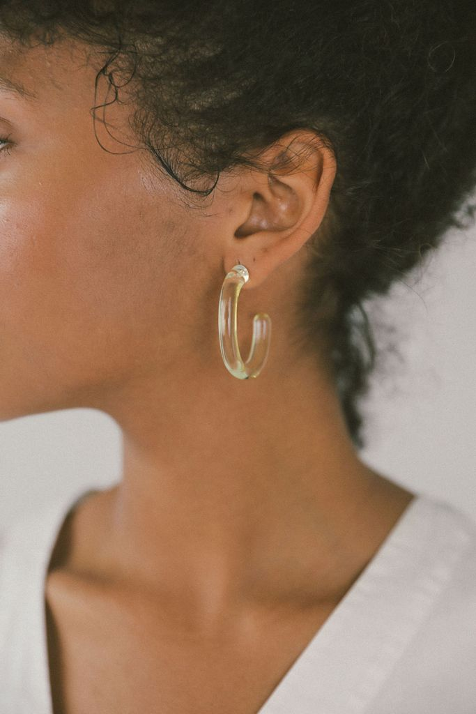 Large Glass Hoops in Yellow