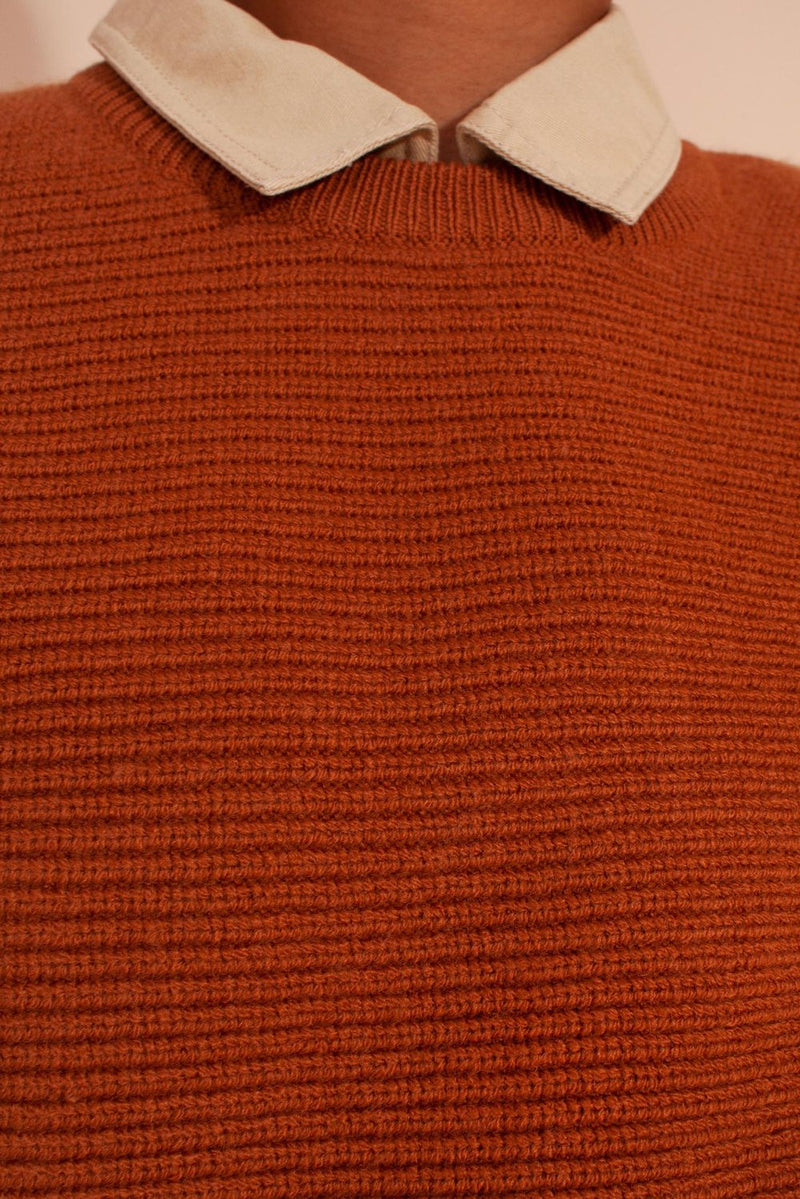 Looking for the perfect cropped knit sweater? Look no further. The Verne Knit Jumper is a wide cut cropped, ribbed jumper with a round neckline, ribbed hem, and wide sleeves. Available in both Navy and Terracotta. Designed by L.F. Markey, made from a merino wool blend.