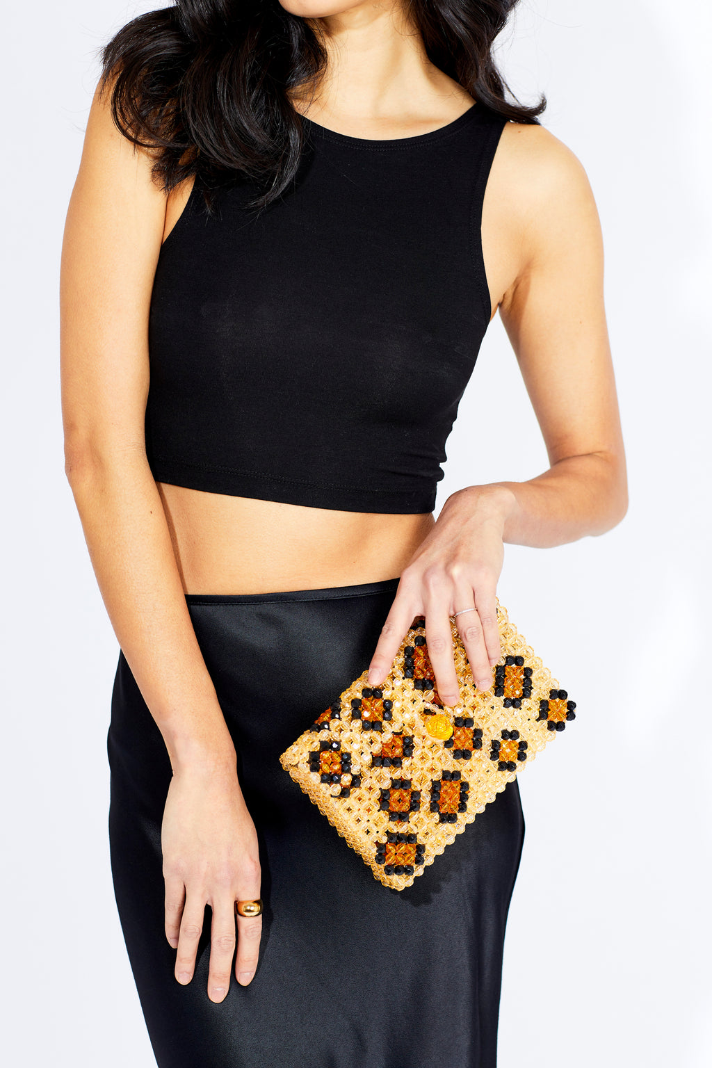 Rawr Crossbody Faceted Beaded Bag