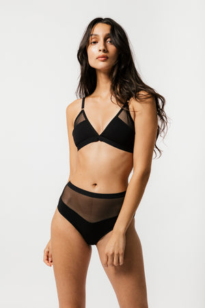Logan High Cut Bikini Black
