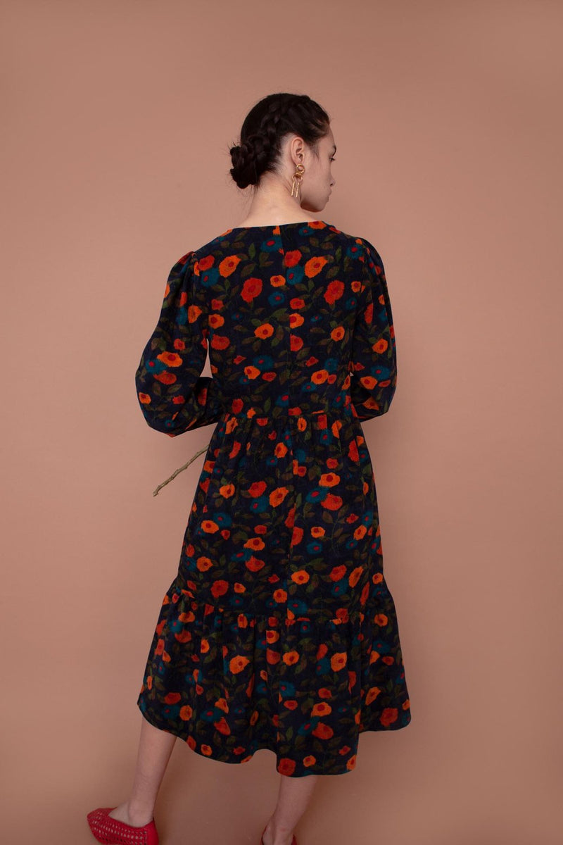 Corduroy Orchard Dress Navy Floral