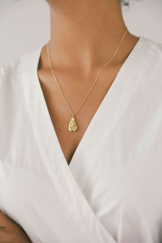 Iris Woman Shaped Pendant Gold Necklace