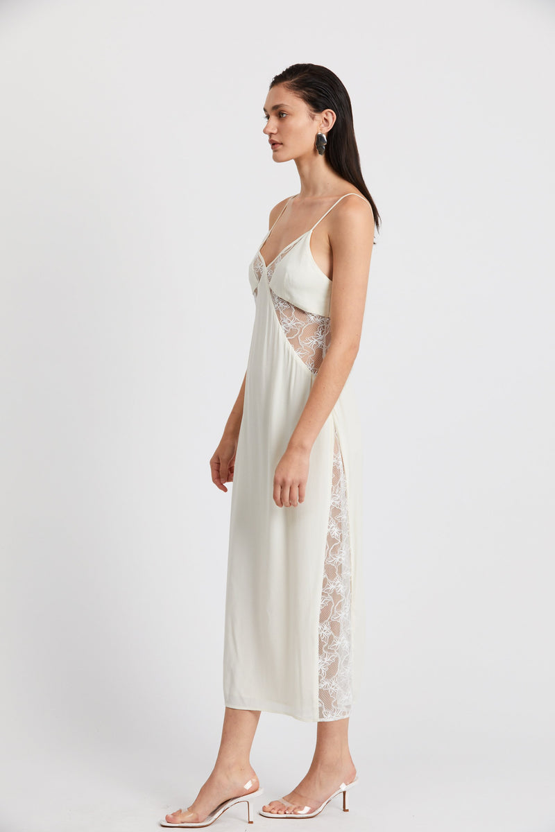 Look In Lace Slip Dress Cream