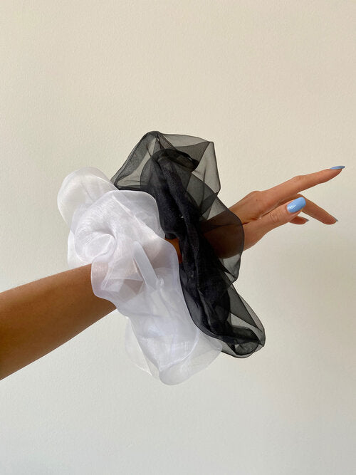 Oversized White Organza Scrunchie