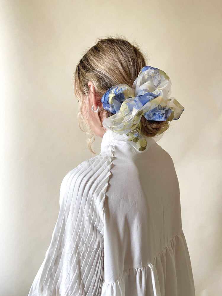 Oversized Blue Floral Organza Scrunchie