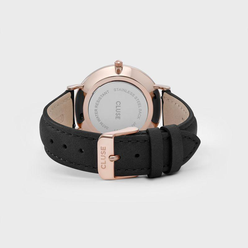 Bold. Dark. Beautiful. Our La Boheme rose gold and black watch embraces the essence of modern elegance. Presented in a grey leatherette pouch. As with all our watches in the La Bohème collection, you can easily customize this watch with any La Bohème or La Roche leather or mesh strap. Designed by Cluse watches.