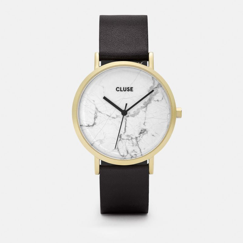 A great gift and watch for both men & women! The perfect way to accessorize your suit, or dress! Our white and marble black watch designed by Cluse watches.   Designed as a tribute to one's uniqueness, the La Roche watch features a genuine white marble dial, produced from a raw stone. Every piece of marble is one of a kind with a natural veining pattern, which makes each La Roche timepiece entirely unique.