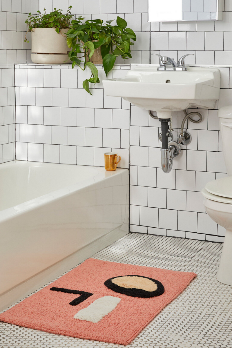 Make your mornings a little easier with Cold Picnic's super soft abstract pink bathmat is just what your bathroom needs.