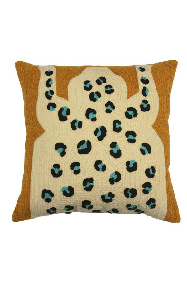 To help inspire dreams, rest your head on this chain-stitched leopard pillow. The leopard cushion cover is made in Brooklyn from 100% cotton featuring a unique chain-stitched design.
