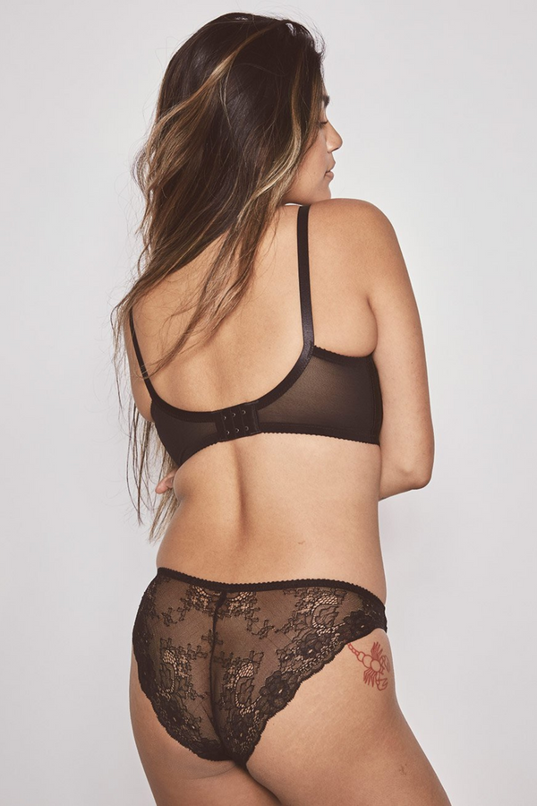 The perfect everyday underwear that fuses silky soft jersey panelling front contrasted by a semi-sheer stretch lace back for a seamless appearance under clothing. Designed by Fortnight Lingerie in Toronto.