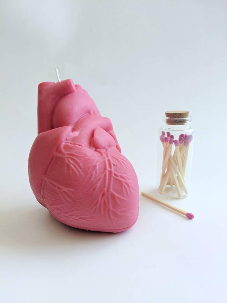 Pink Anatomical Heart Candle | Drop Dead Candles