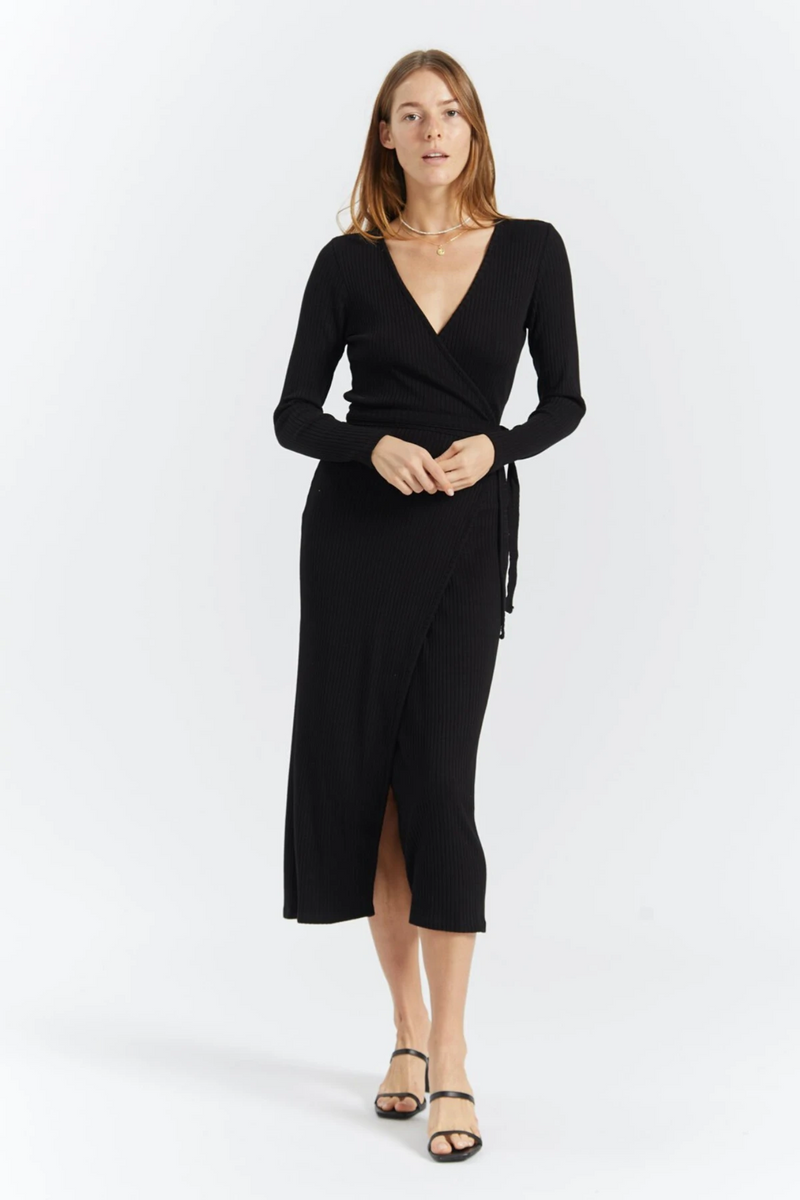 The Edda Wrap Dress designed by Just Female can be dressed up or remain casual for any occasion. Featuring a slim-fit, long sleeves and a deep V neckline - the classic waist tie pulls this look together for your next night out!