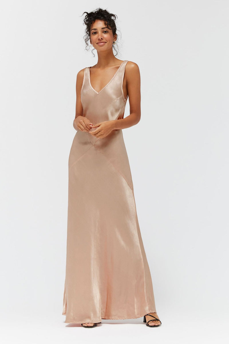 Our Arden Dress designed by Lacausa is a real showstopper. The ultimate occasion dress, including prom. Cut on the bias with style lines for the most flattering fit in our soft, washed satin.