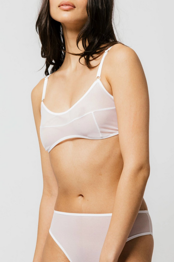 "The Kendi Bra features single-layer mesh with thoughtful design lines to create a simplistic, sexy look. The mesh offers a supportive fit and will give to your natural shape. Offering adjustable shoulder straps and 3/8"" bra band allows it to extend from a 32 - 38 band size, select size based on cup size. Made in Canada by Mary Young."