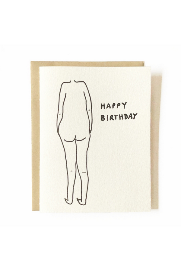 Love letters for your love letters. Minimal and thoughtful designs printed in Los Angeles, California by Nicole Monk. The Birthday Suit Card is a perfect gift and note of appreciation for your friends, family or lover.  DETAILS:  A2 card printed with archival inks on cream folded stock. Includes a recycled craft envelope.