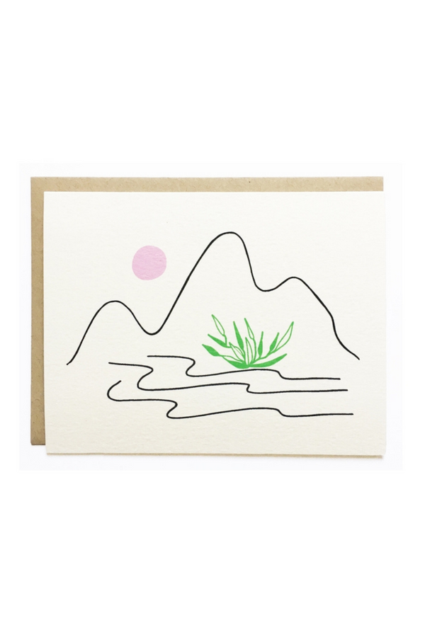Love letters for your love letters. Minimal and thoughtful designs printed in Los Angeles, California by Nicole Monk. The Landscape Moon & Mountain Card is a perfect gift and note of appreciation for your friends, family or lover.  DETAILS:  A2 card printed with archival inks on cream folded stock. Includes a recycled craft envelope.