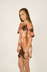 Stand Still Peach Floral Dress