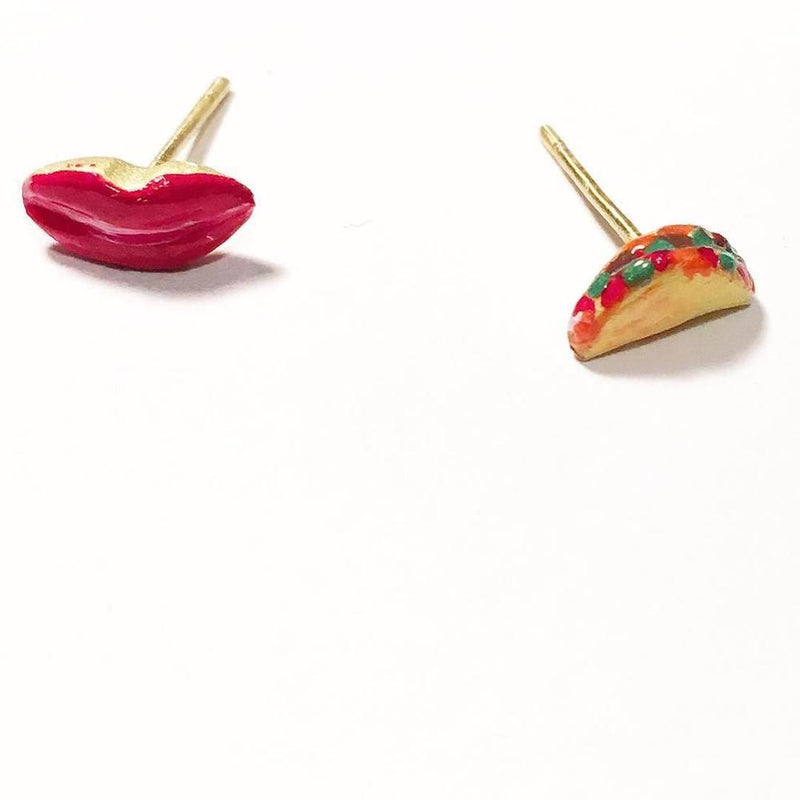 The most lovely hand-painted bronze kiss stud earring designed by Susan Alexandra. Mix and match this kiss stud with our rainbow stud, eye stud, or watermelon stud! Handmade in New York and sold individually.