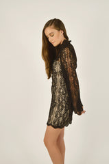 Uptown Lace Mini Dress Black