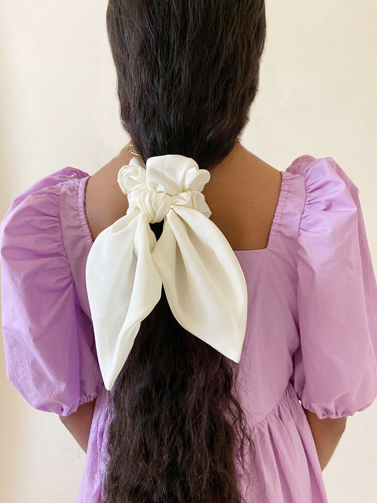 Petal Bow White Silk