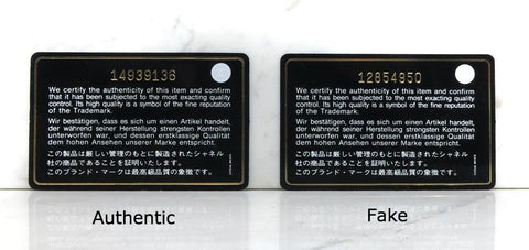 97e20525b94 Authenticity cards, corresponding to a bag, produced in 2005 onwards, have  a grey circle symbol. Not white, not gold - it must be of a light grey hue.