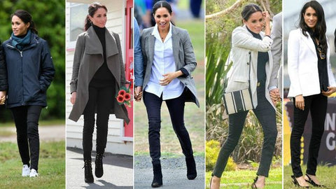 Meghan Markle wears the 'Harriet' jeans by Outland Denim to different occasions during her royal tour