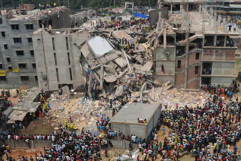 The disaster of collapsing of the garment factory Rana Plaza in Bangladesh