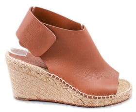 Celine Brown Leather Espadrille Wedges Size 35