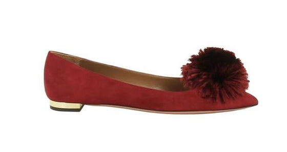 Aquazzura Red Powder Puff Pom Pom Ballet Flats Size 36