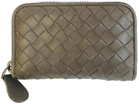 Bottega Veneta Brown Nappa Intrecciato Zip Around Card Holder Wallet
